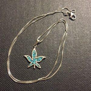 Vintage sterling turquoise leaf necklace